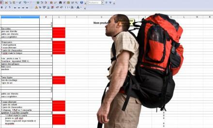 Outil pour composer et calculer le poids de son sac à dos en randonnée.